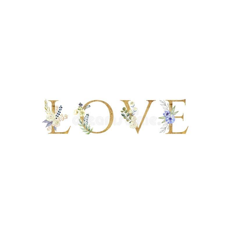 爱 在白色背景隔绝的花卉浪漫在上写字的词组 向量例证