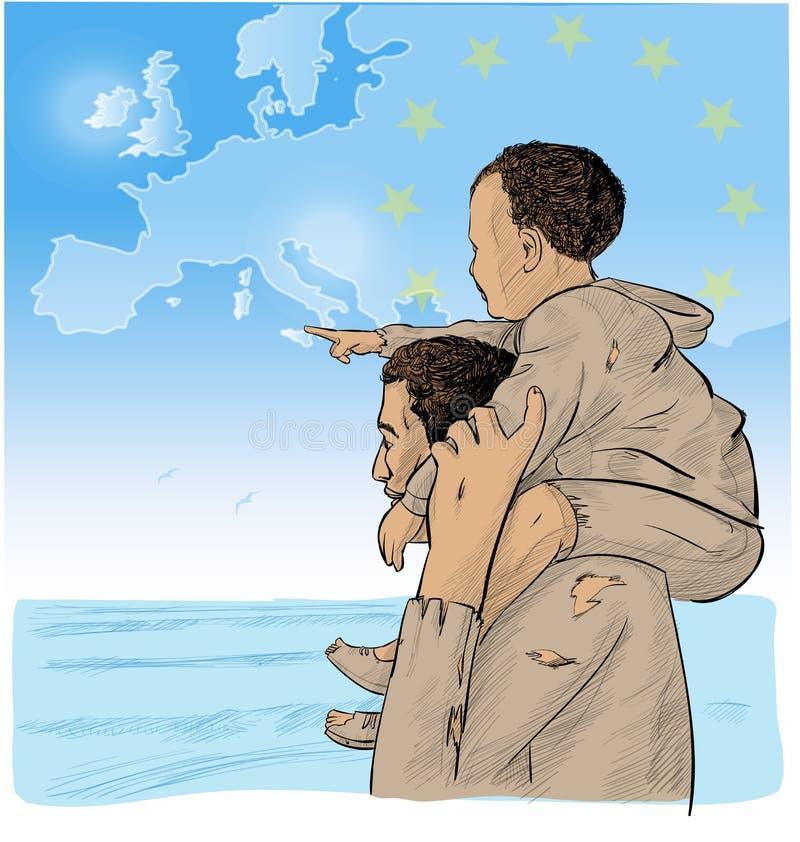 父亲和儿子移民 库存例证