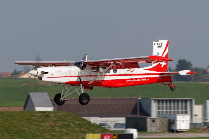 瑞士空军队Pilatus PC-6搬运工飞机V-622 免版税库存照片
