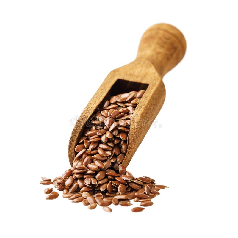 瓢棕色亚麻籽充分隔绝了 免版税库存照片