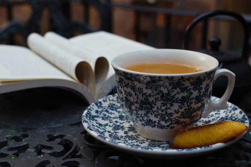 瓷断送新瓷草莓茶时间 放松的杯子绿色jazmin茶 世界书天背景 免版税库存照片