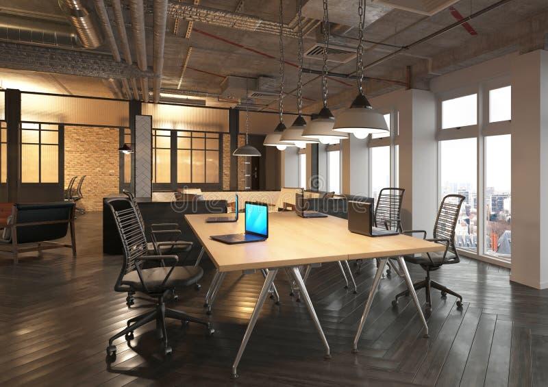 照片拟真的办公室回报 3d例证 主持会议会议室表 库存例证