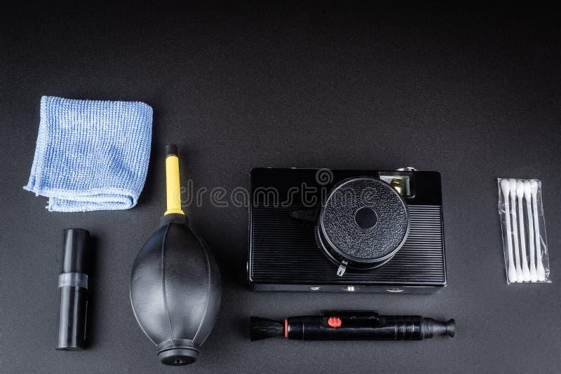 照相机清洗的成套工具 免版税图库摄影