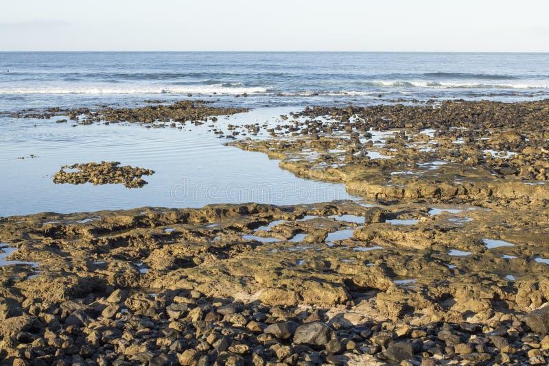 特内里费岛岸的镇静大西洋在上午 库存图片