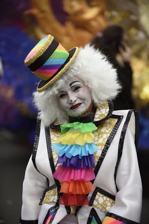 特内里费岛3月05日:在狂欢节的很多乐趣在街道上 2019年3月05日,特内里费岛金丝雀是 西班牙 库存图片