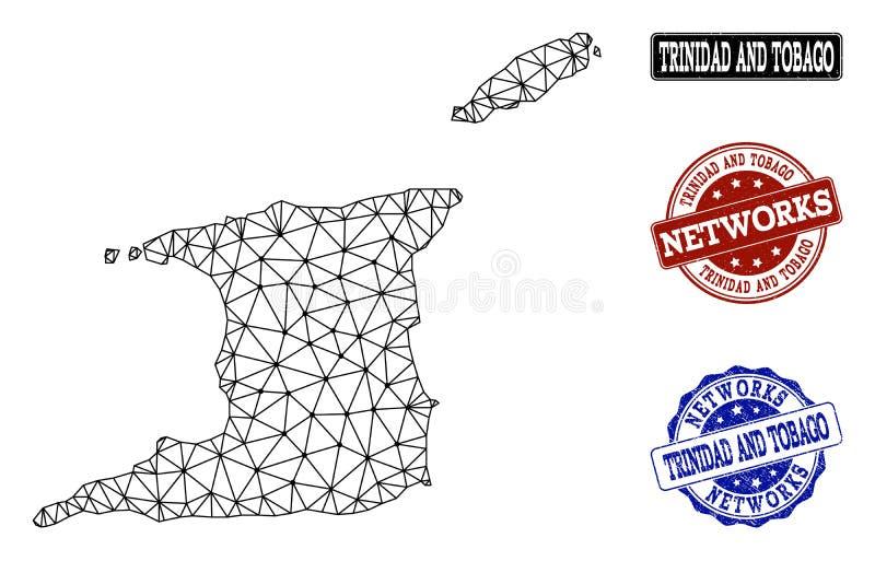 特立尼达和多巴哥和网络难看的东西邮票多角形导线框架滤网传染媒介地图  皇族释放例证