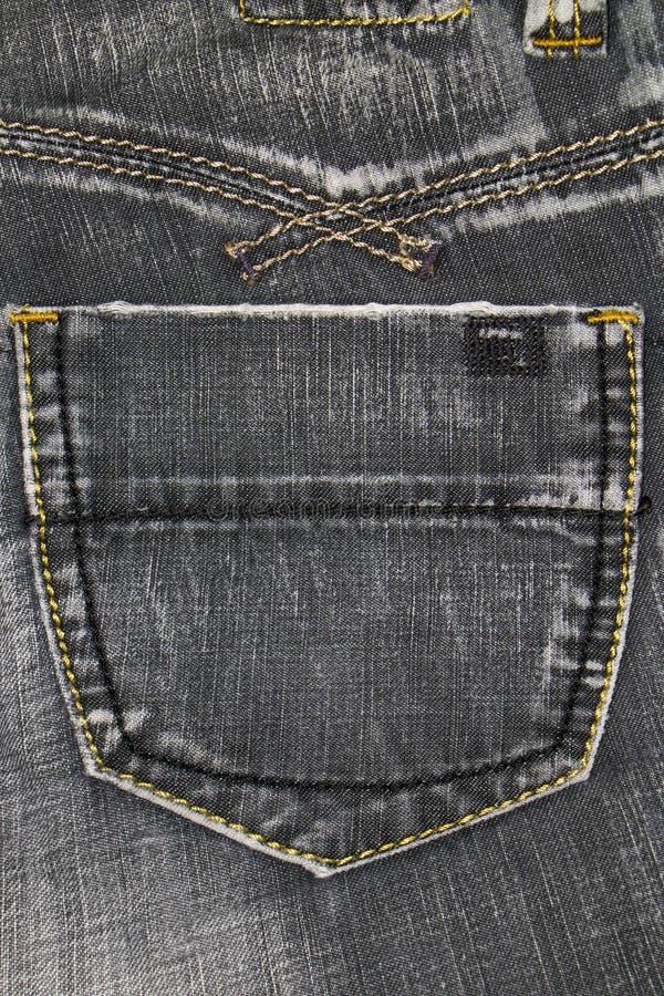 牛仔布纹理,牛仔布灰色口袋 库存图片
