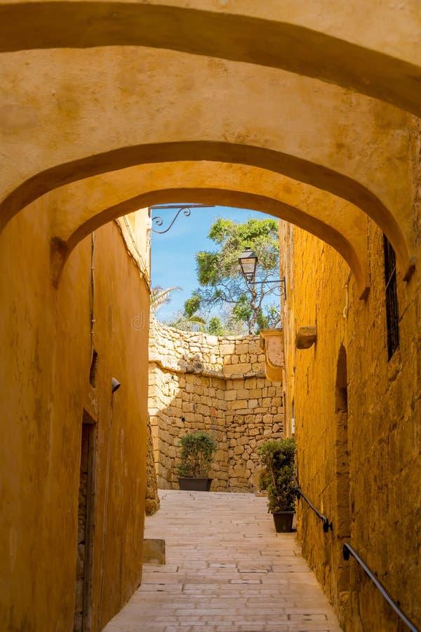 狭窄的街道维多利亚,戈佐岛,马耳他 库存照片