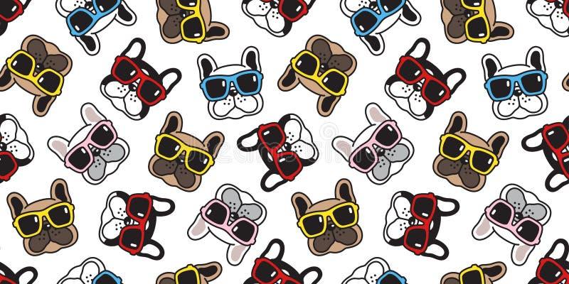 狗无缝的样式法国牛头犬传染媒介太阳镜面孔围巾被隔绝的重复墙纸动画片瓦片背景乱画 免版税库存图片