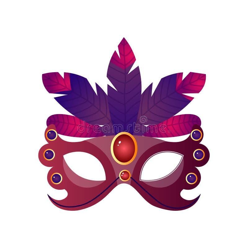 狂欢节,万圣节,与羽毛和闪耀的石头的化妆舞会女性面具 库存例证