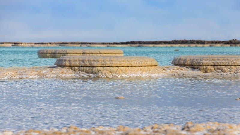 盐形成在紧密死海蓝色和绿松石水域中 免版税库存照片