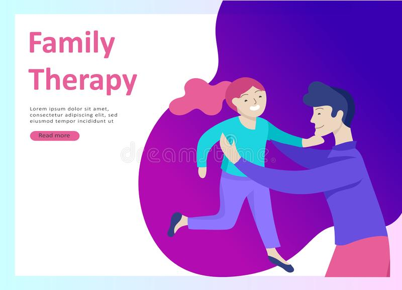 登陆的页模板幸福家庭,旅行和精神疗法,家庭医疗保健,母亲父亲的物品娱乐 向量例证
