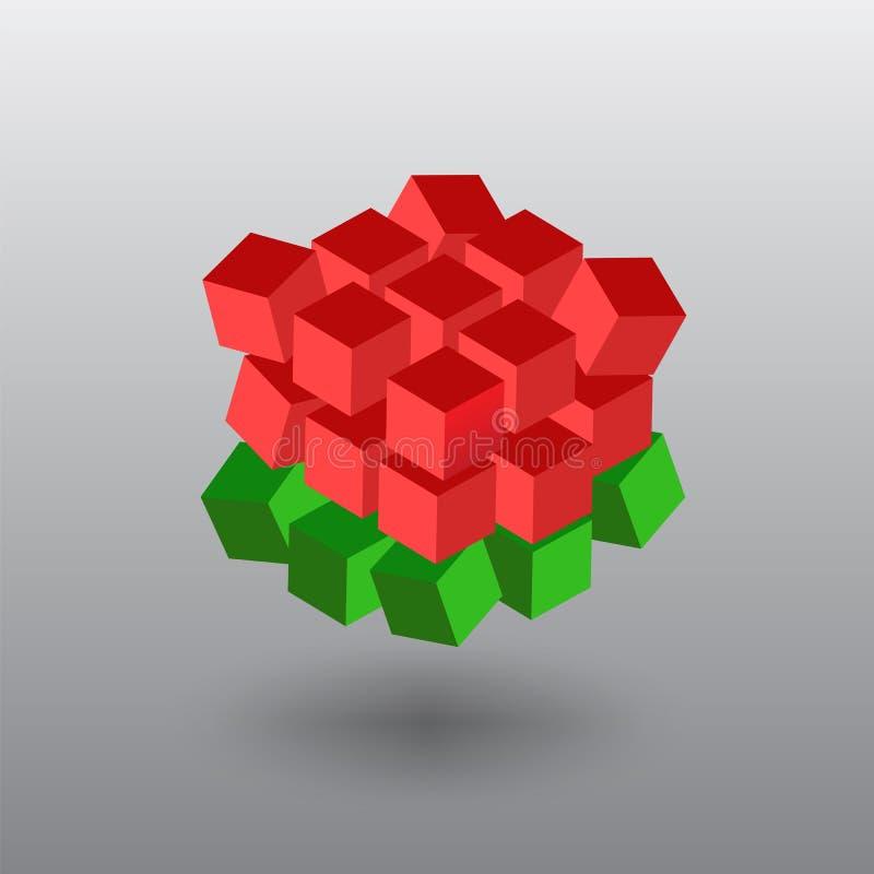 白俄罗斯语旗子 白俄罗斯共和国的旗子以立方体的形式 免版税图库摄影
