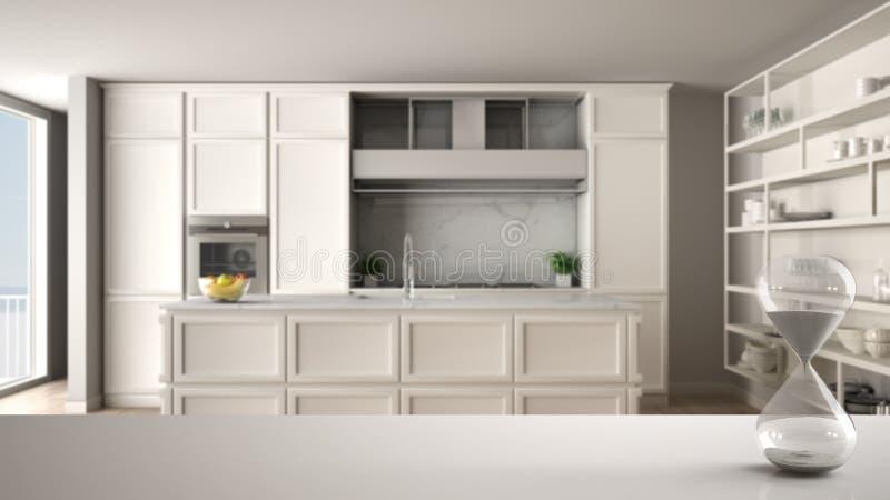 白色桌或架子与测量通过的时间在经典厨房的水晶滴漏当代公寓的与木条地板 皇族释放例证