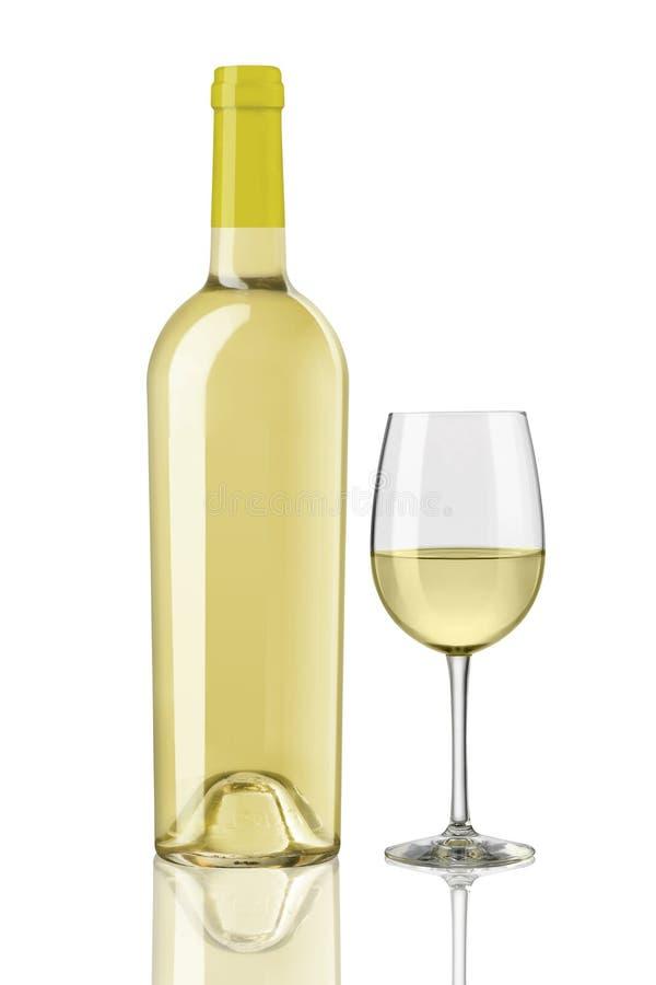 白酒酒瓶和玻璃 图库摄影