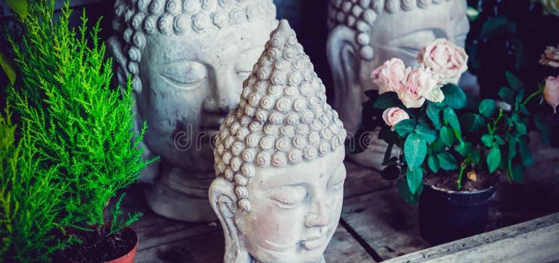 紧密石在花中的少量菩萨头雕象在木背景的罐 外部,公园,室外庭院装饰 免版税图库摄影