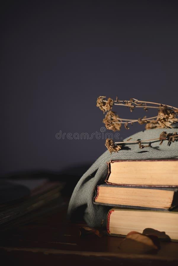 用与谎言的一块布料盖的三本旧书在桌上在上面的一朵干燥花 免版税库存照片