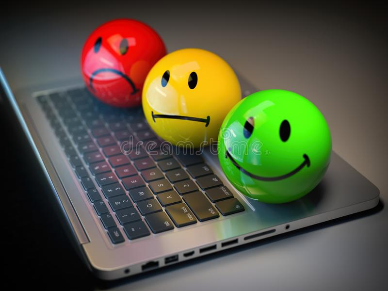 用户满意h反馈规定值概念 在膝上型计算机键盘的色的微笑意思号 向量例证