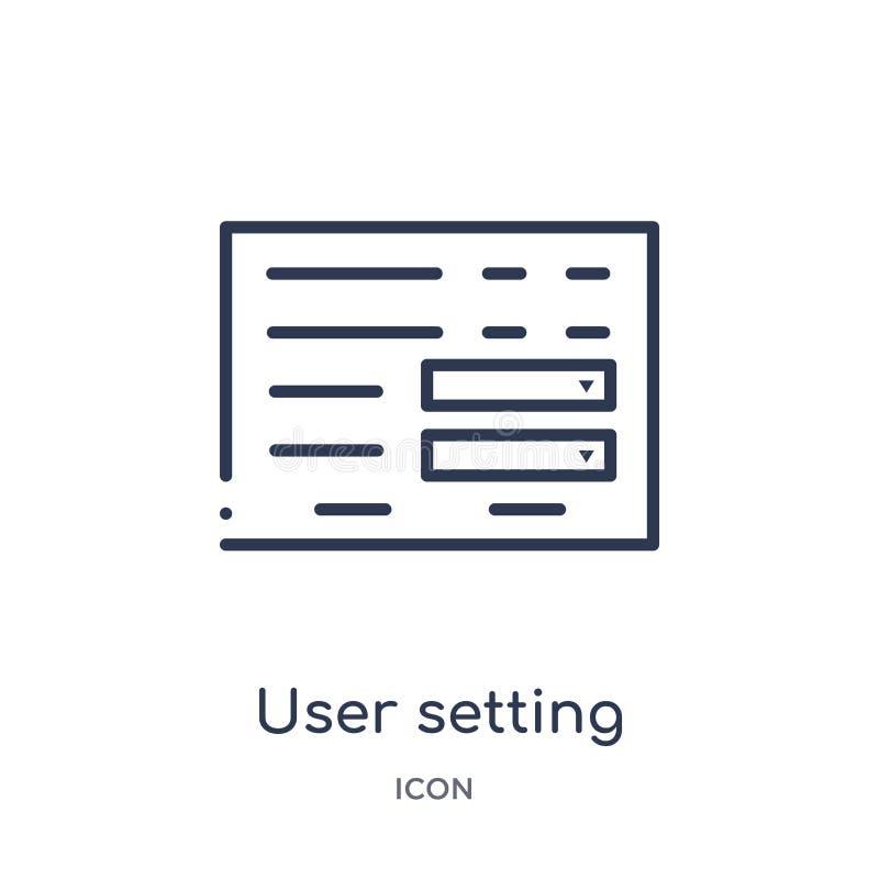 用户设置从用户界面概述汇集的接口象 稀薄的线用户设置在白色隔绝的接口象 库存例证