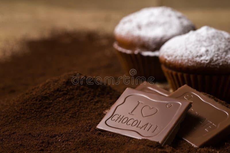 用糖粉末装饰的巧克力杯形蛋糕 库存照片