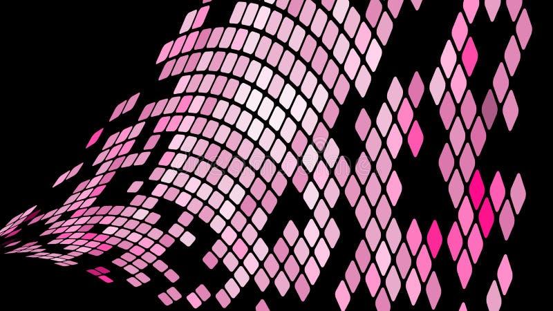 紫罗兰色桃红色正方形,菱形,长方形瓦片,与缝的马赛克多彩多姿的抽象背景  向量例证