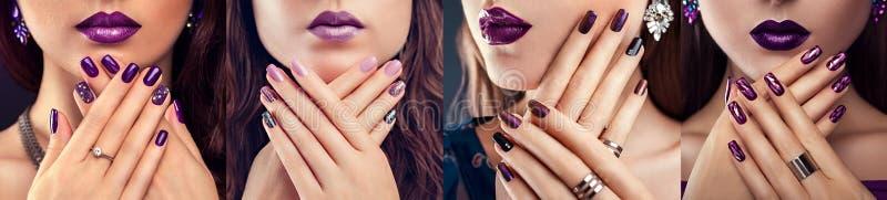 紫色钉子设计的四种类型 有完善的构成、修指甲和首饰的美女 方式 免版税库存图片