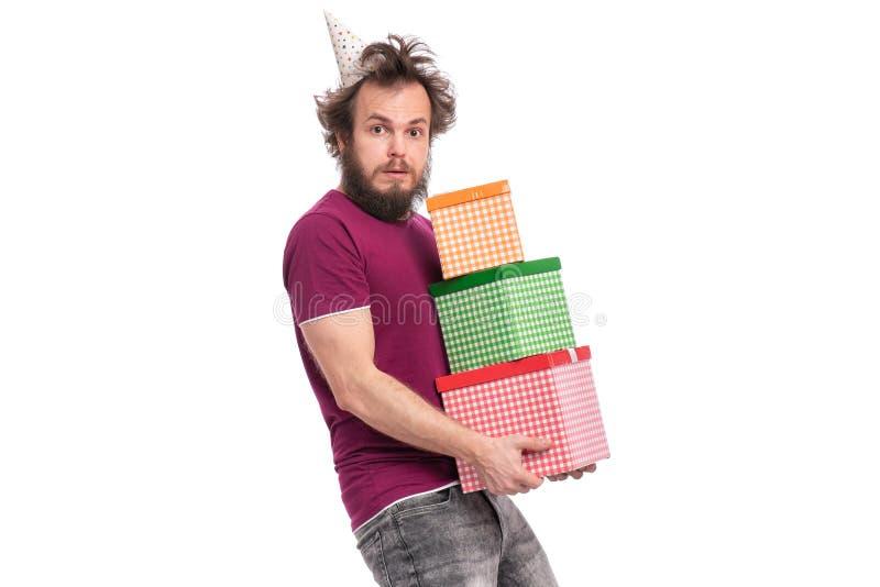 疯狂的有胡子的人-假日概念 免版税图库摄影