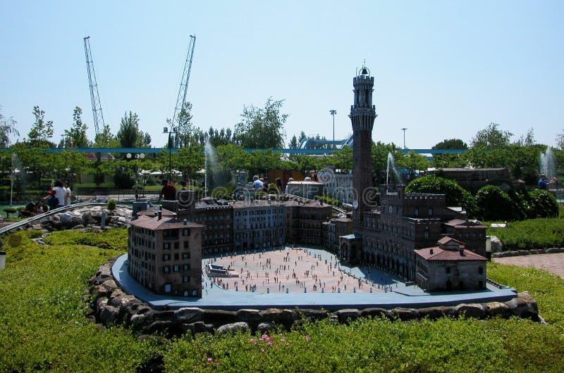 田野广场锡耶纳在主题乐园'缩样的'miniatura的Viserba,里米尼,意大利意大利意大利 免版税库存照片