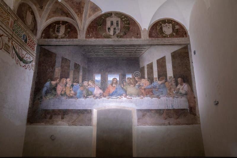 由列奥纳多・达・芬奇生动描述最后的晚餐 库存照片