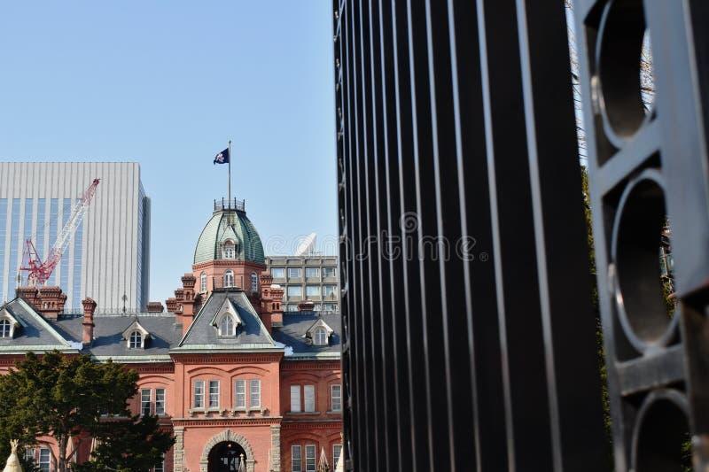 由红砖的老前北海道政府机关楼房建筑 库存图片
