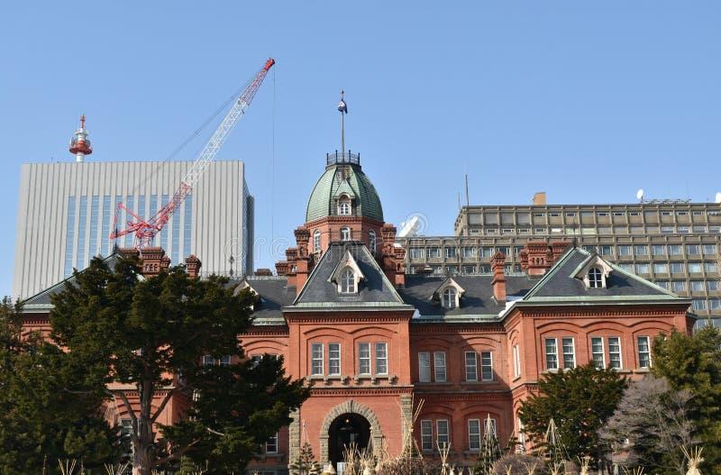 由红砖的老前北海道政府机关楼房建筑 图库摄影