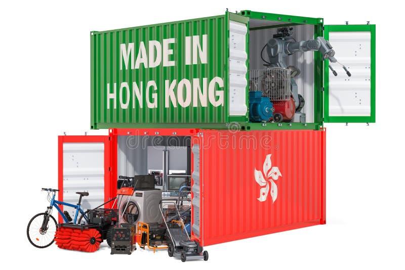 电子和装置,3D生产和运输从香港的翻译 向量例证