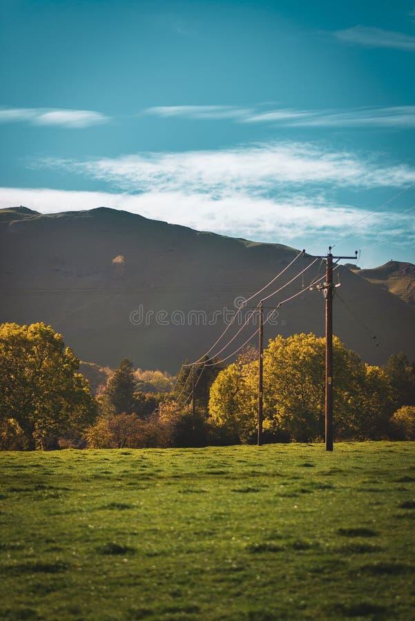 电线杆在高峰区穿过了一个领域 免版税图库摄影