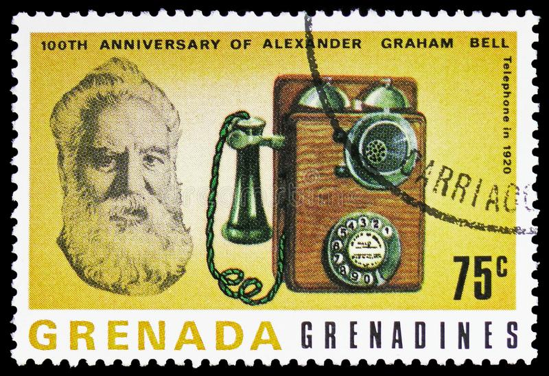 电话1920年,百年第一通话1876年3月10日serie,大约1977年 库存照片