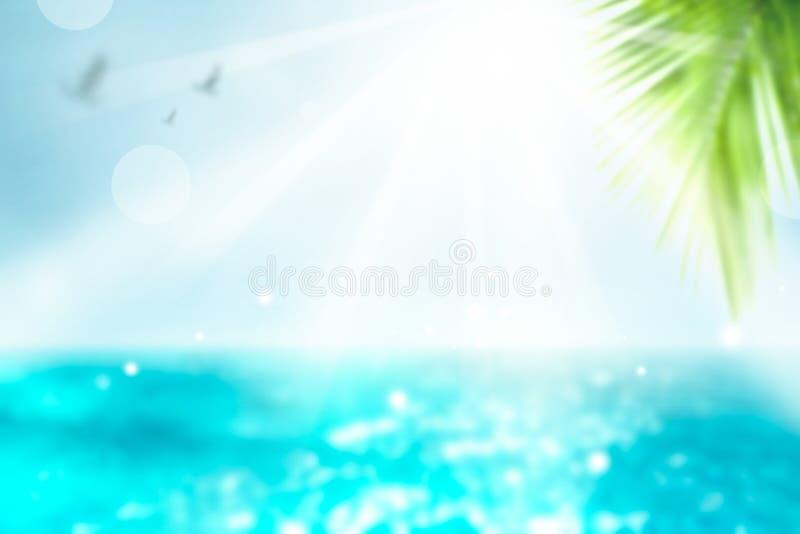 生动的夏天背景 被弄脏的棕榈和热带海滩bokeh背景 冷淡的玛格丽塔酒时间假期妇女 免版税库存照片