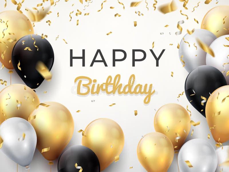 生日气球背景 金黄周年庆祝卡片,发光的装饰贺卡 传染媒介生日海报 向量例证