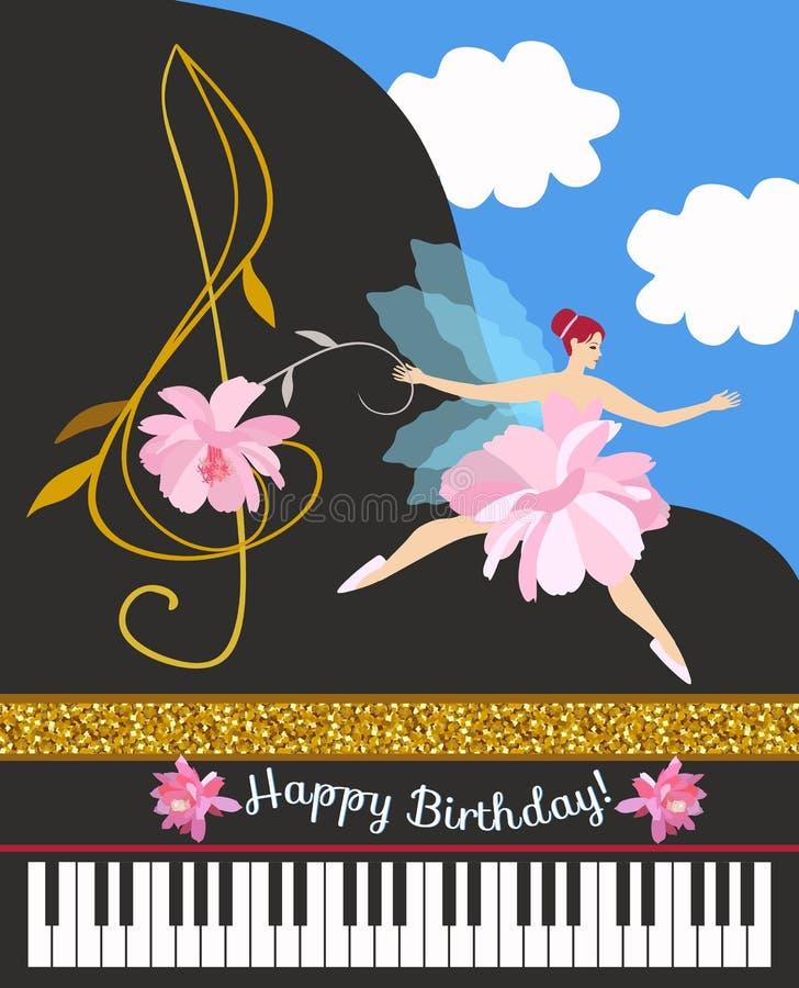 甜矮小的飞过的神仙和高音谱号以一朵美丽的花的形式以一架开放平台大钢琴钢琴为背景 库存例证