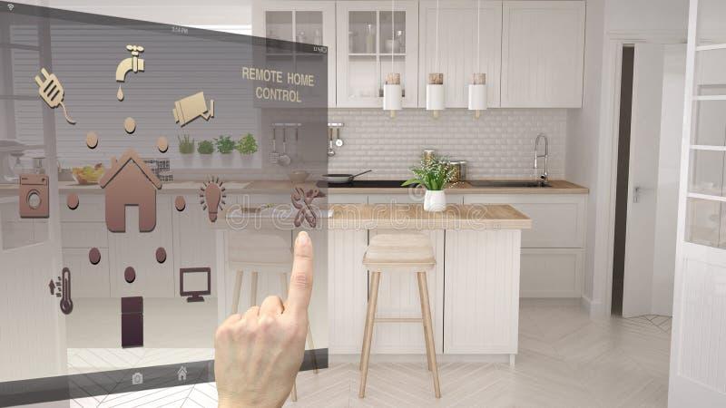 聪明的家庭控制概念,控制从流动app的手数字接口 显示现代白色现代的被弄脏的背景 免版税图库摄影