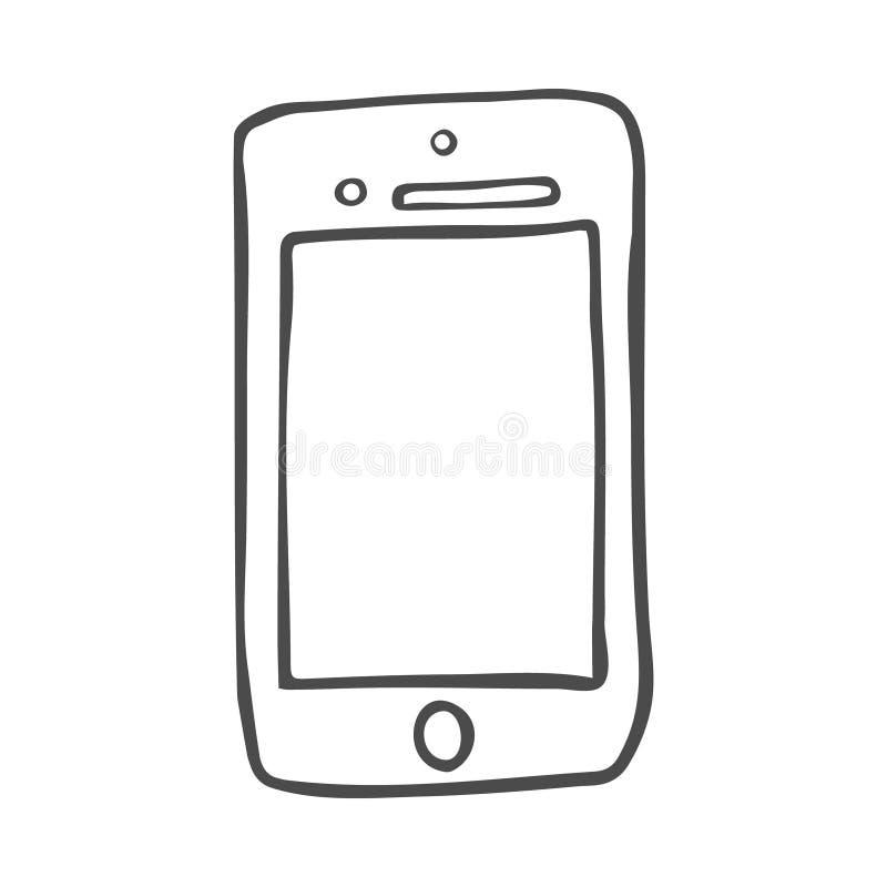 聪明的电话乱画象 在传染媒介的手拉的剪影 库存例证