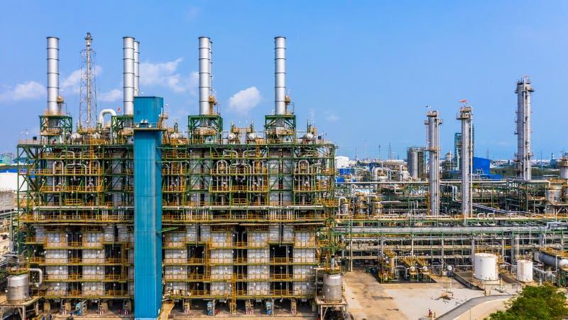聚乙烯植物在工业园,鸟瞰图聚乙烯产业 库存图片