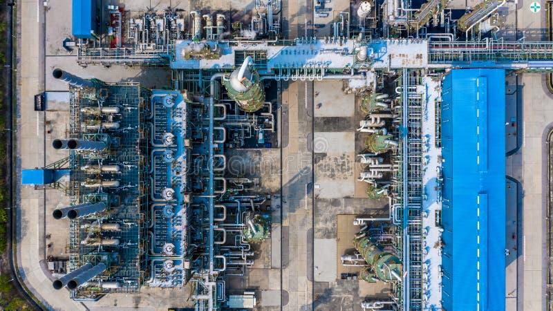 聚乙烯植物在工业园,鸟瞰图聚乙烯产业 免版税库存照片