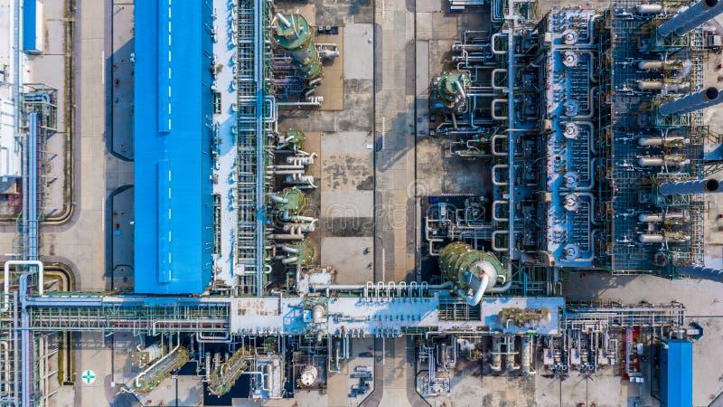 聚乙烯植物在工业园,鸟瞰图聚乙烯产业 免版税库存图片