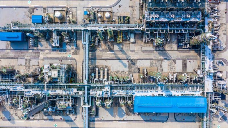 聚乙烯植物在工业园,鸟瞰图聚乙烯产业 库存照片