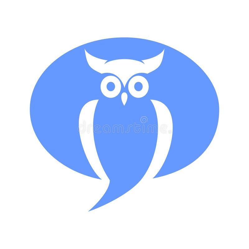 聊天的猫头鹰商标设计传染媒介 免版税库存照片