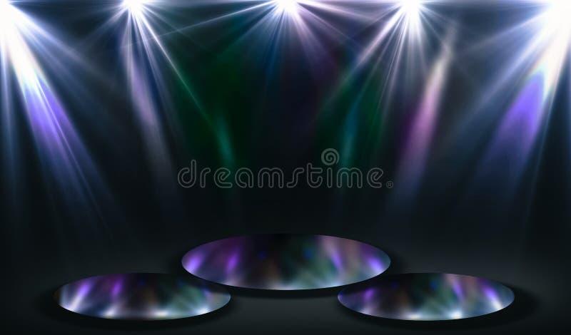 聚光灯照亮的优胜者空的指挥台 向量例证