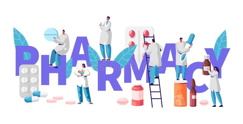 药房企业药店看看产业字符印刷术海报 药剂师治疗患者 专业药房产品 皇族释放例证