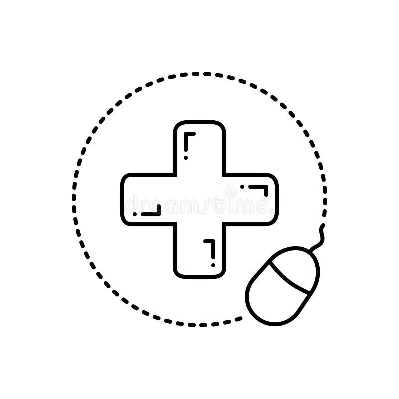 药房网上,医疗和药剂师的黑线象 库存例证