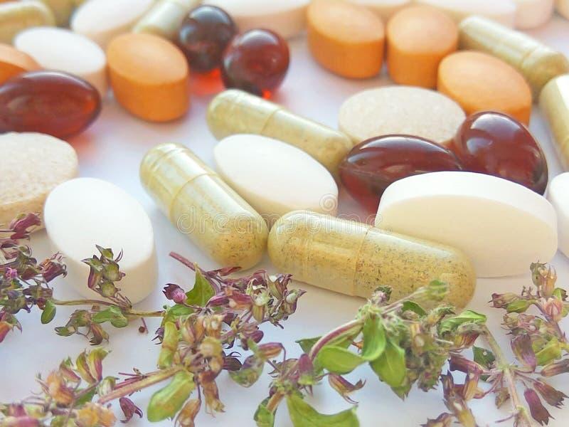 草药药片用在白色背景的干自然草本 草药和膳食补充剂的概念 库存照片