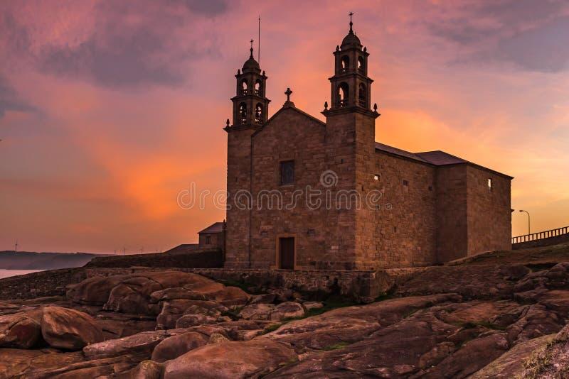 菲尔根de la巴尔卡角,穆希亚,加利西亚,西班牙教会  库存图片