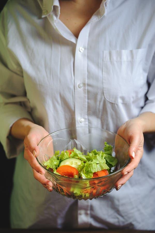 菜沙拉板材在厨师的手上 免版税图库摄影